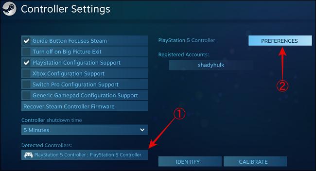 حدد وحدة تحكم PS5 وانقر فوق التفضيلات