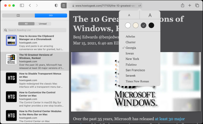 Reading List and Reader View in Safari for Mac