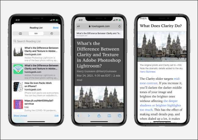 Reading List in Safari for iPhone