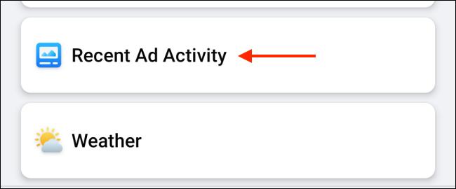 Recent ad activity on Facebook for Android