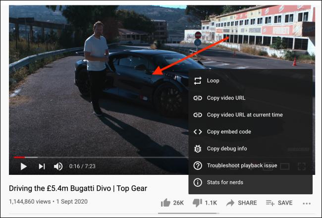 Clique com o botão direito novamente na janela do vídeo