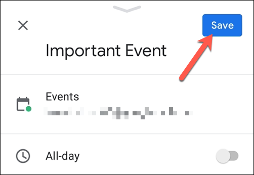 "Click ""Save"" to save the event."