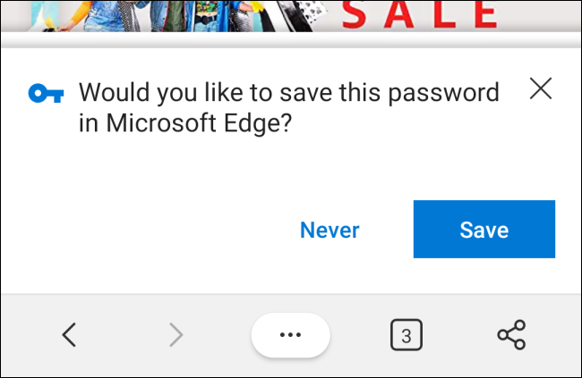 Save Password Prompt in Microsoft Edge