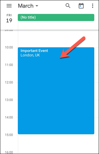 In the Google Calendar app, tap an event title to make changes to it.