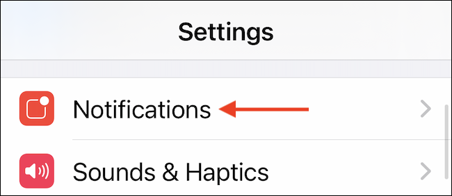 Select Notifications from Settings