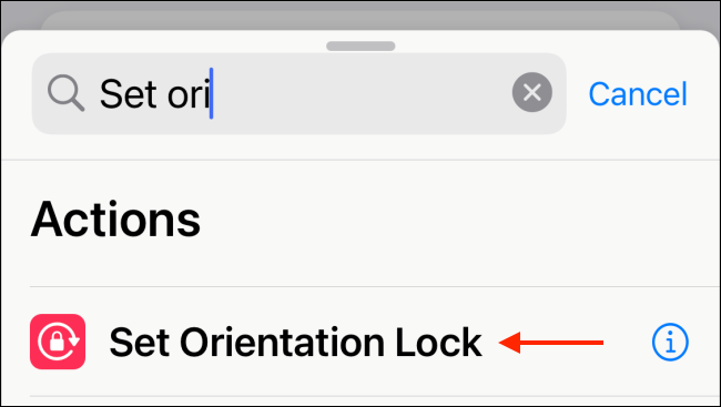 Select Set Orientation Lock Action