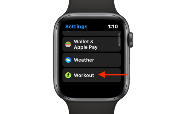 Select Workout from Settings