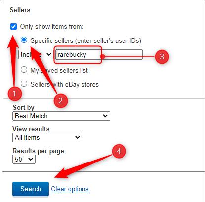 Itens na seção Vendedores das opções de pesquisa avançada para procurar um vendedor específico