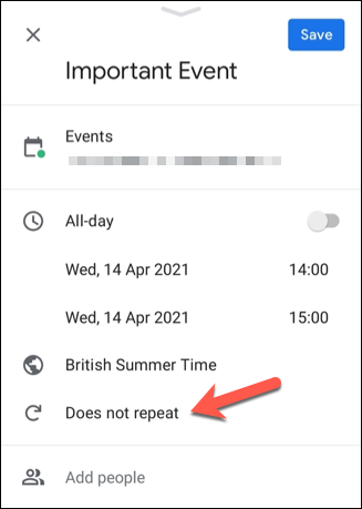 "In the event details menu, set the time, location, and other important event details, then tap the ""Does Not Repeat"" option to set recurrence settings."