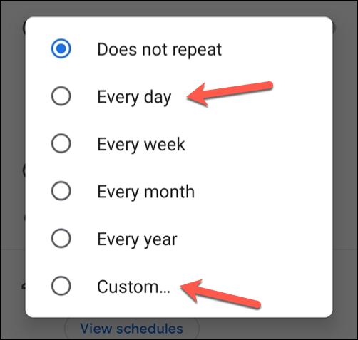 """Выберите один из предустановленных вариантов повторения или выберите """"Обычай"""" установить предустановленное расписание."""