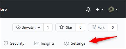 Settings tab in GitHub