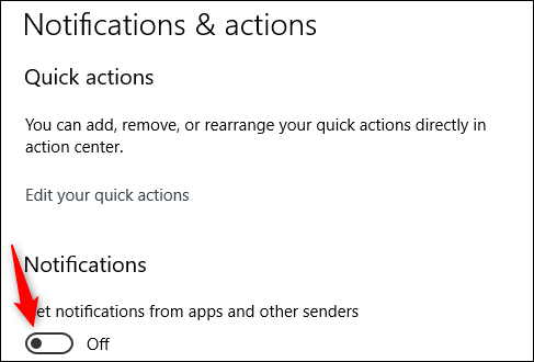 Slider in the Notifications group for disabling notifications