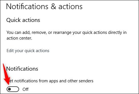 غیرفعال کردن اعلان ها در ویندوز 10