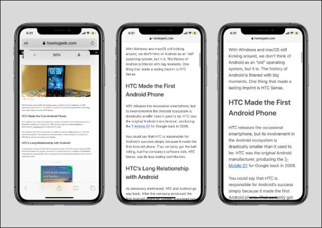 Маленькие и большие размеры текста в Safari на iPhone