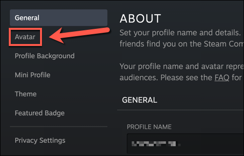 """In your Steam profile settings menu, press the """"Avatar"""" option."""