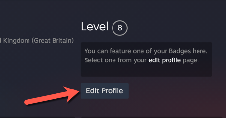 """On your Steam account profile page, press the """"Edit Profile"""" option."""