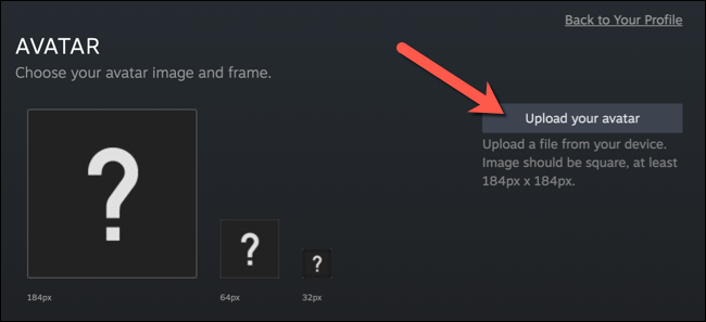 """In the """"Avatar"""" menu, press the """"Upload Your Avatar"""" option."""