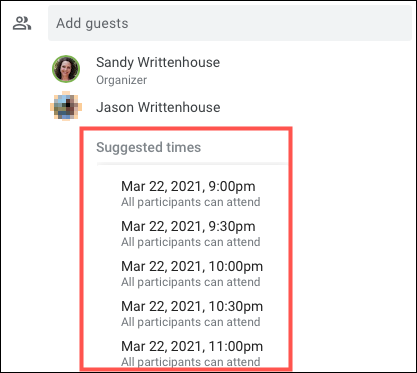 Click Suggested Times for a list of available times