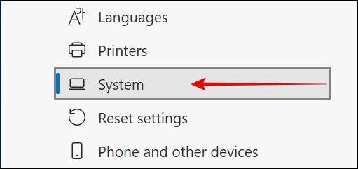 System in Microsoft Edge Settings