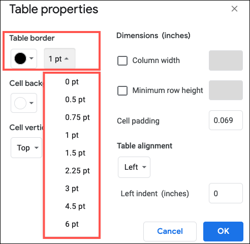 Change the color and width of the table border