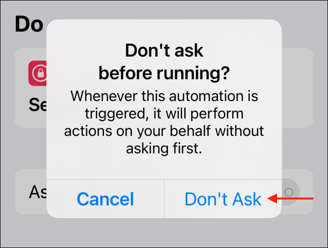 Tap Don't Ask from Popup