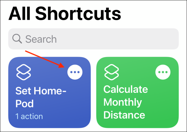 Tap Menu from Shortcut