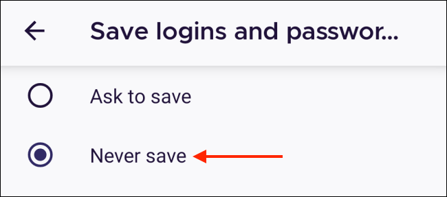 Tap Never Save in Firefox