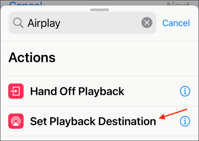 Tap Set Playback Destination in Shortcuts