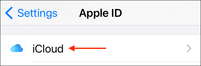 Tap iCloud from Settings