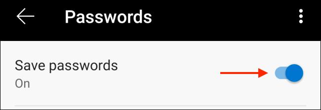 Tocca per disabilitare il salvataggio delle password in Edge per Android