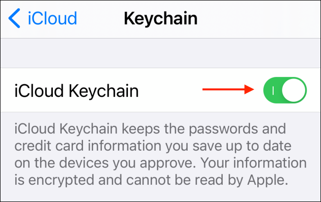 Tap to Disable iCloud Keychain
