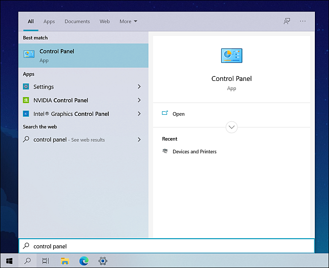 Type Control Panel in Windows Search