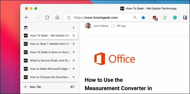 Vertical Tabs in Sidebar in Microsoft Edge