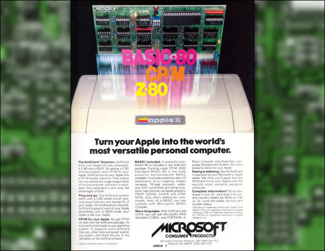 A 1980 ad for the Microsoft Softcard running CP / M on an Apple II.