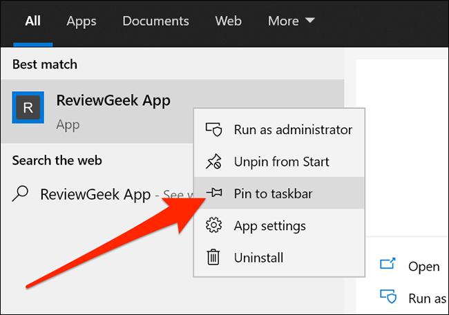 Add a website app to taskbar