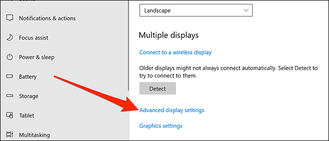 Display settings menu in Settings