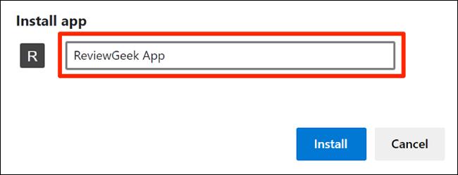 Enter a website app name in Edge