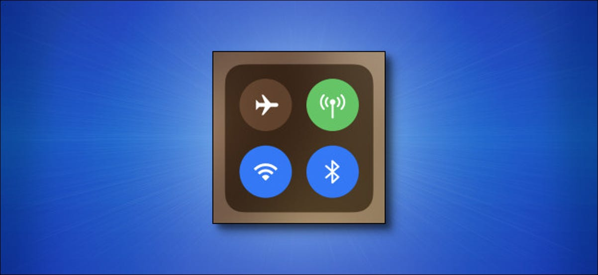 Apple iPhone Control Center icons on blue background