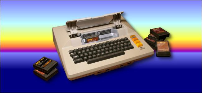 Atari 800 on a sunset background by Benj Edwards.