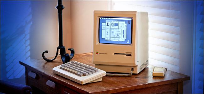 A Mac Plus on a Desk