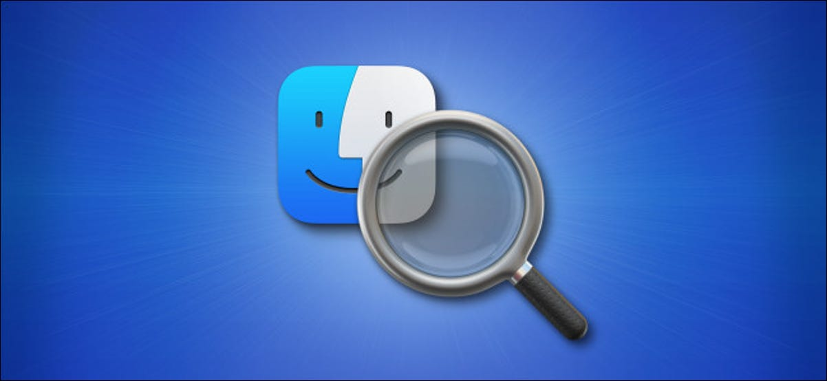 macOS 11 Spotlight search icon with Finder icon on a blue background