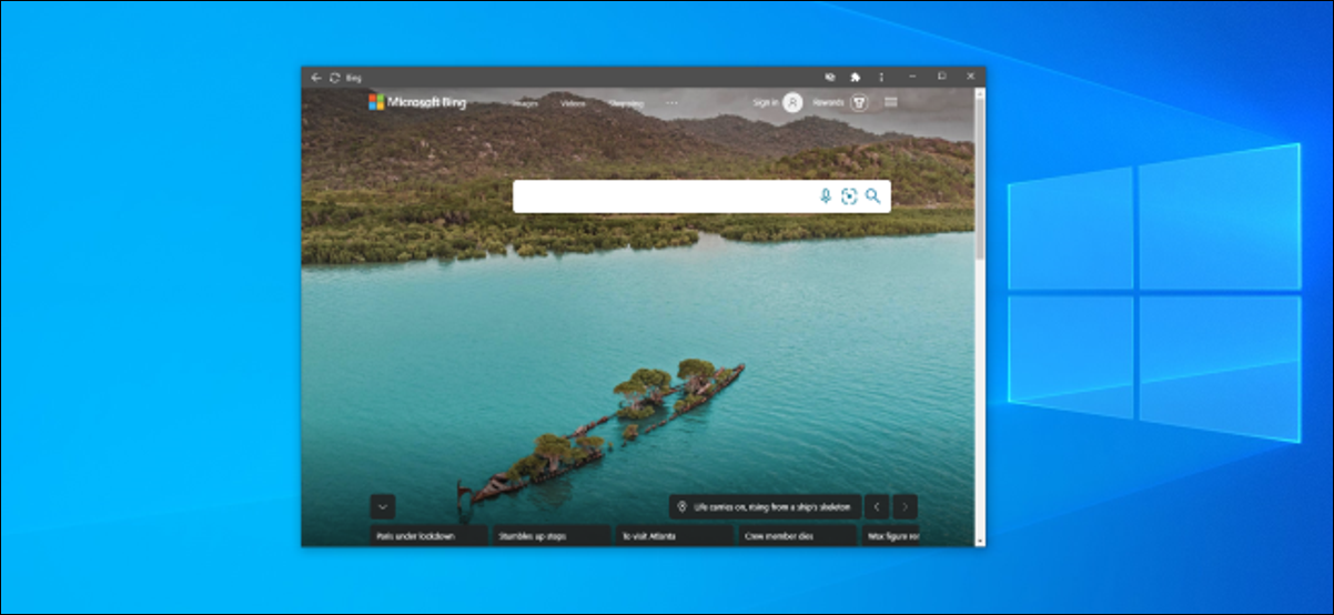 Bing installed as an app using Chrome on Windows 10.
