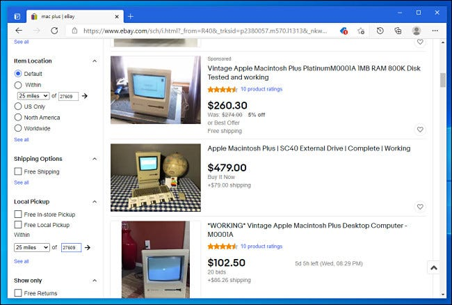 Searching eBay for vintage computers.