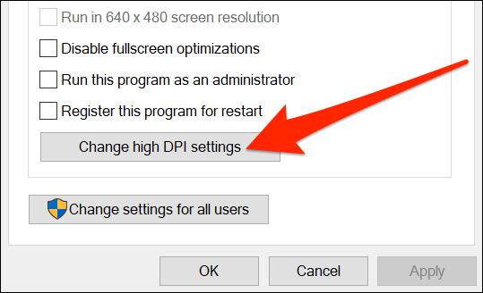 Change the app's DPI settings