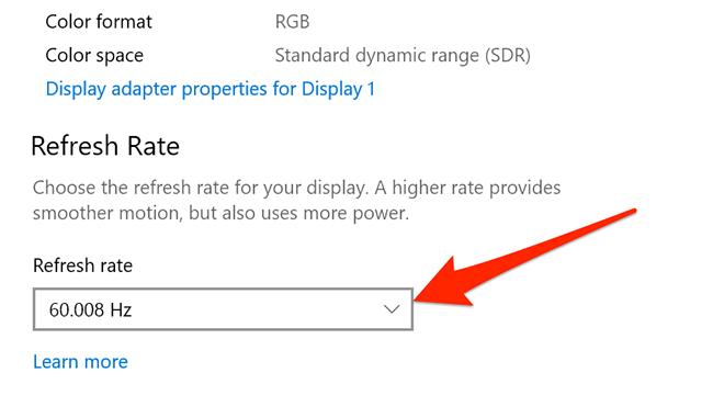Advanced display settings menu in Settings