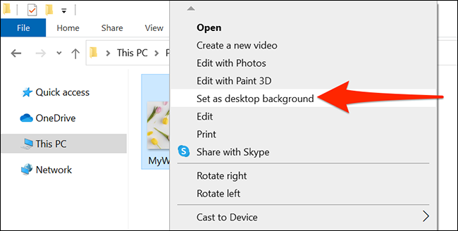 Change the desktop wallpaper using File Explorer