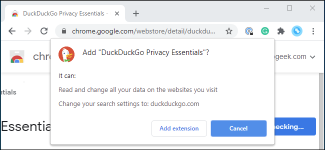 Chrome's permission prompt when installing the DuckDuckGo extension.