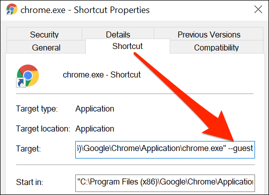 Properties window for Chrome shortcut