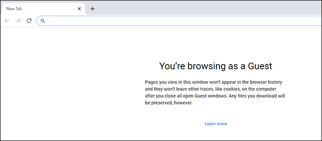 Guest mode screen in Chrome