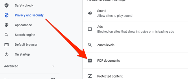 PDF documents option in Chrome